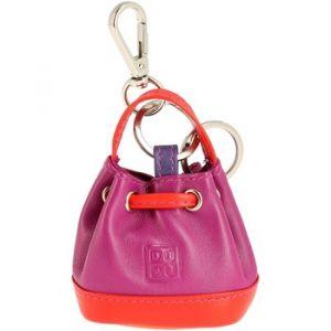 Dudu Porte-clés Porte-monnaie à Sac seau en Cuir coloré avec Coulisse 2 anneaux et Crochet pour les clés Fuchsia