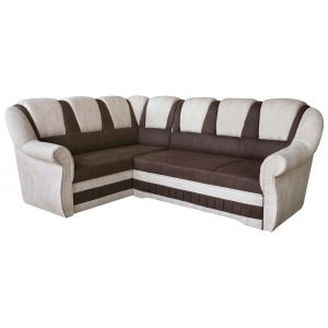 Comforium Canapé d'angle convertible 4 places en tissu beige et marron avec coffre méridienne côté gauche