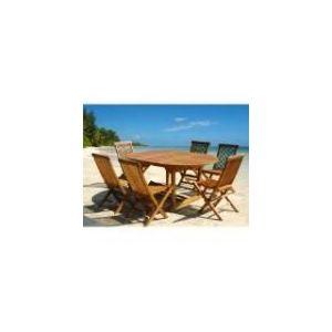 Table de jardin en teck huilé avec 6 chaises pliantes