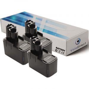 Visiodirect Lot de 3 batteries 3000mAh 12V pour perceuse à percussion Bosch PSB 12V SP-2