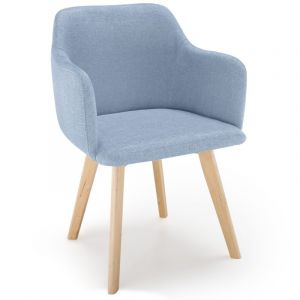 LesTendances Chaise Style Scandinave Tissu Bleu SAGA