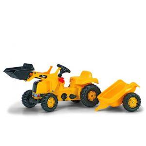 Rolly Toys Tracteur à pédales Caterpillar avec chargeur et remorque