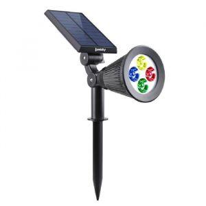 Lumisky Spot solaire extérieur étanche - 4 LEDs RGB - 200 Lm - Tête pivotante à 90°C - 4 LEDs RGB - 200 Lm - 8 à 10 h - Dispose de 2 modes d'éclairage - Tête pivotante à 90°C