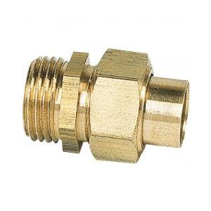 Union mâle droit 3 pièces à joint sphéro-conique filetage 20x27mm