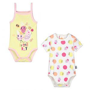Petit Béguin Lot de 2 bodies manches courtes et débardeur bébé fille Mini  Party - Jaune 2bc2c1f4179
