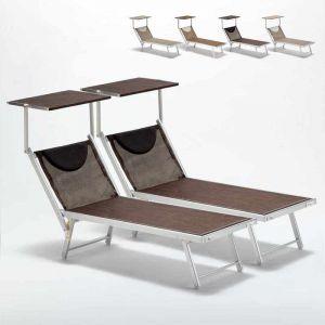 Beach and Garden Design Bain de soleil piscine aluminium transats lits de plage SANTORINI Limited Edition 2 pcs | Chocolate - Marron Santorini