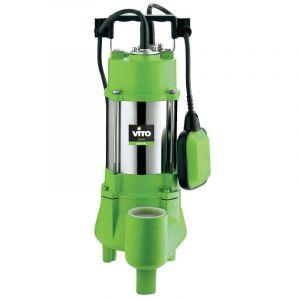 Vito Garden Pompe d&rsquoévacuation VITO pour eaux chargées 1100W - Vide piscine, eaux de pluie, cave - Câble électrique 6m -