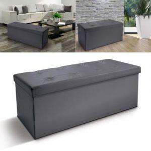 d1b456f98aac40 ProBache Banc coffre rangement PVC gris 100x38x38 cm pliable