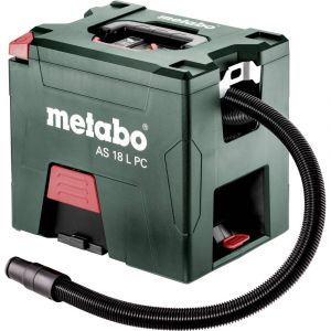 Metabo AS 18 L PC Aspirateur de chantier à batteries 18V Li-Ion (2x batterie 5,2Ah) - Classe-L - 7,5L