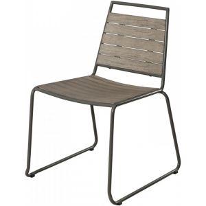 Macabane Lot de 2 chaises empilables bois et métal