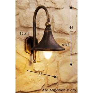 Hofstein Applique extérieure Elgin Noir doré, 1 lumière - Vintage - Extérieur - Elgin