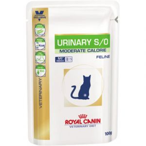 Royal Canin Veterinary Diet Urinary Moderate Calorie - 12 sachets poulet pour chat