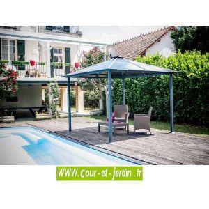 Habrita Gloriette pergola aluminium anthracite 3m² toit 4 pentes