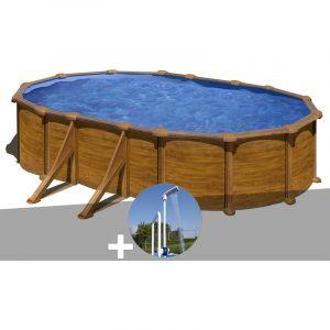 Gre Kit piscine acier aspect bois Mauritius ovale 5,27 x 3,27 x 1,32 m + Douche