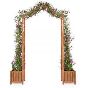 VidaXL Arche de jardin avec jadinière Bois d'acacia massif 180x40x218cm