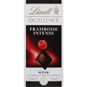 Lindt Chocolat noir, extra-fin traditionnel, à la framboise - Le paquet de 100g