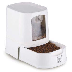 M pets Distributeur de croquettes Lena avec couvercle - Blanc - Pour chien et chat