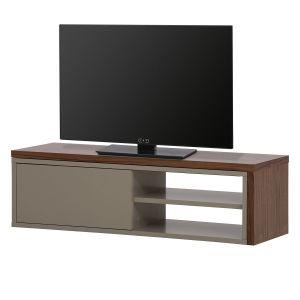 TemaHome Meuble TV bas extensible en bois blanc (noyer) design avec niches et porte coulissante MOVE