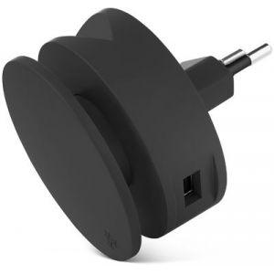 Usbepower Chargeur secteur 2 USB +enrouleur cable + support - Noir