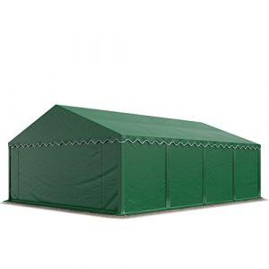 Intent24 Abri / Tente de stockage ECONOMY - 5 x 8 m en vert fonce - toile PVC 500 g/m² imperméable / protection contre les rayons UV (80+) / structure robuste en acier galvanisé.FR