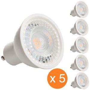 Kanlux Pack de 5 spots led GU10 7 watt - finition blanche - Couleur eclairage - Blanc neutre, Finition - Blanc -