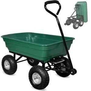 Deuba Brouette verte avec fonction d''inclinaison, essieu directeur et pneumatiques
