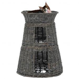 VidaXL Jeu de panier pour chats 3 pcs avec coussins Gris 47x34x60 cm