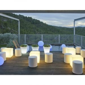 Cube l ineux 32cm outdoor Solaire+Batterie rechargeable LED/RGB Moovere