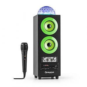 Auna DiscoStar Green • Haut-parleurs Bluetooth 2.1 • Effets Lumineux LED • Radio • Tuner Radio FM • 30 Stations programmables • MP3 • SD • USB • Mini USB • AUX • Microphone • Contrôle Volume • Vert