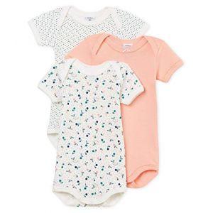 Petit Bateau 3 BODIES U Body Bébé fille Multicolore (Variante 1 00) 6-9 mois (Taille fabricant:6M)