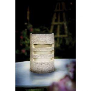 Lampe solaire de table pierre reconstituée