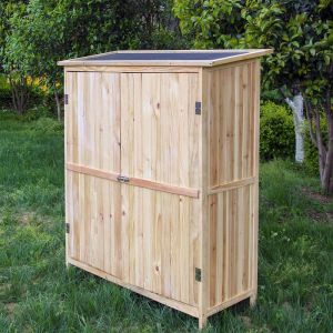 wiltec Armoire de jardin en bois naturel 2 portes 138x55x155cm armoire à outils
