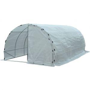 Outsunny Serre de jardin tunnel surface sol 18 m² 6L x 3l x 2H m châssis tubulaire renforcé 25 mm double porte avec poignées blanc neuf 77WT