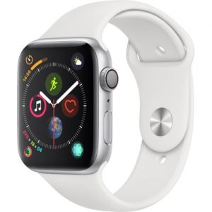 Apple Watch Series 4 - 44mm - Alu Argent - Bracelet Sport Blanc
