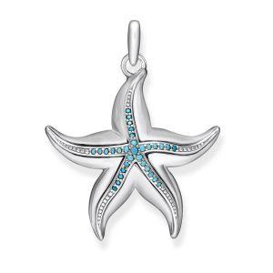Thomas Sabo Pendentif étoile de mer Argent sterling 925, noirci Gris