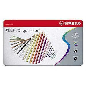 Stabilo aquacolor - Boîte métal de 36 crayons de couleur aquarellables - Coloris assortis