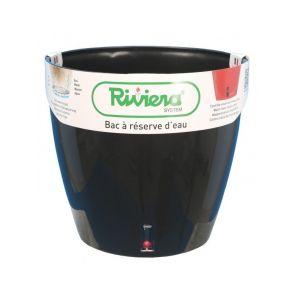 Riviera Pot plastique à réserve d'eau Diam.45 x H.45 cm noir