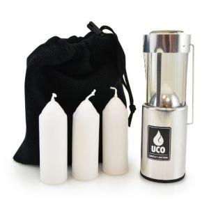 Uco Original Bougie Lanterne Value Pack avec 3 bougies et sac de rangement, L-A-VPUCO, aluminium