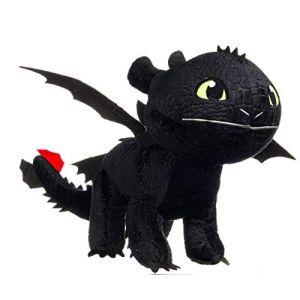Play by play Peluche Dragon FURIE Nocturnes Noir Krokmou 60cm Plush XXL Géan Dragons 3 Le Monde Caché Dragon Trainer