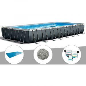 Intex Kit piscine tubulaire Ultra XTR Frame rectangulaire 9,75 x 4,88 x 1,32 m + Bâche à bulles + 20 kg de zéolite + Kit de traitement au chlore