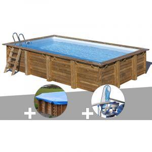 Sunbay Kit piscine bois Evora 6,00 x 4,00 x 1,33 m + Bâche hiver + Kit d'entretien