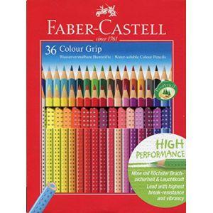 Faber-Castell 112442 - Etui de 36 crayons de couleur aquarellables Colour Grip, coloris assortis