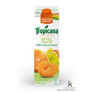 Tropicana Pur jus d'orange, de mandarine et de raisin blanc, réveil fruité - 1 brique de 1L