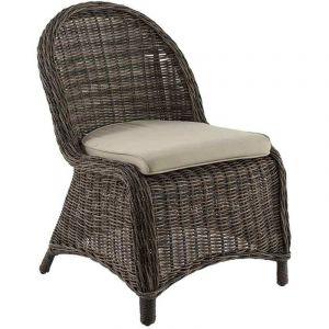 Hesperide Bétong aspect bois - Chaise de jardin en résine tressée