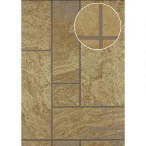 Atlas Papier peint aspect pierre carrelage 24C-1605-1 papier peint intissé texturé à l'aspect de pierre et des accents métalliques brun bronze or 7,035 m2