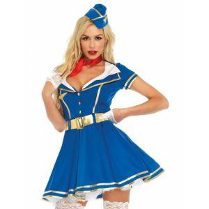 Leg avenue Costume d'Hôtesse de l'Air 4 Pièces Sky High Hottie Bleu L (40)