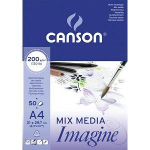 Canson Bloc de 50 feuilles de papier dessin Imagine - 200g - A4 - blanc