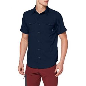 Columbia Homme Chemise à Manches Courtes, Utilizer II Solid Short Sleeve Shirt, Polyester, Bleu (Collegiate Navy), Taille : L, 1577762