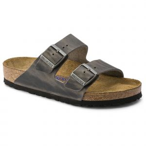 Birkenstock Arizona Oiled Leather Soft Footbed Sandals 37 EU Iron