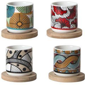 The home deco factory Pick & Drink Set de 4 Gobelets à expresso Wax et Coupelles Bambou